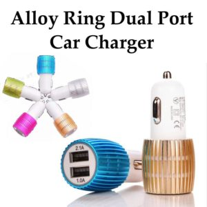 Wholesale China Supplier Alloy Ring Dual USB Car Charger OEM